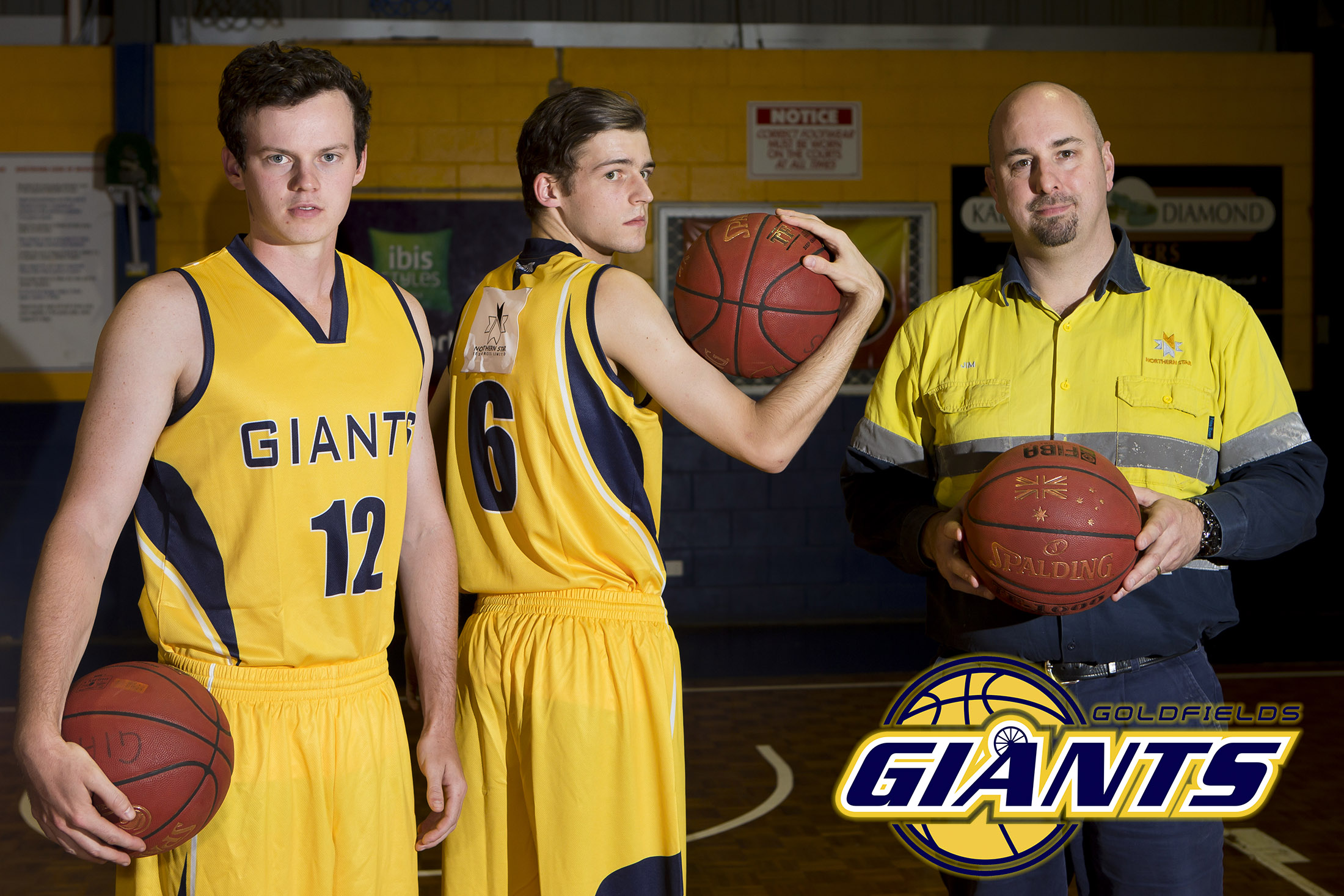 Northern Star Resources, Kalgoorlie Operations general manager Jim Coxon (right)  with Giants SBL Division 1 players Nathan Burrow and Nathan Vince earlier this year.