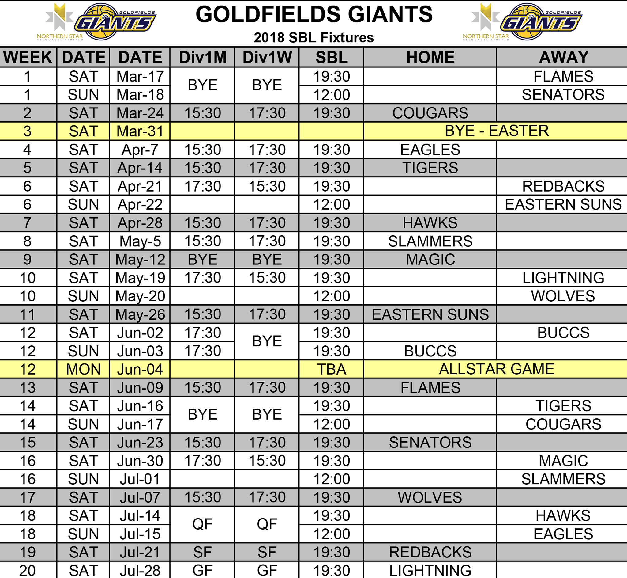 Goldfields Giants 2018 Schedule.